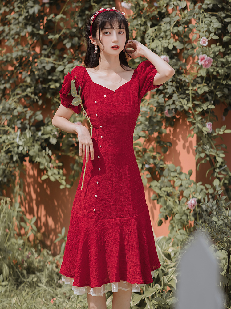 Temperament retro summer France style dress for women
