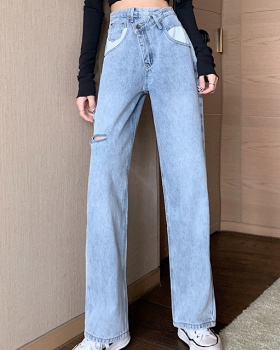 All-match retro high waist fashion holes jeans for women
