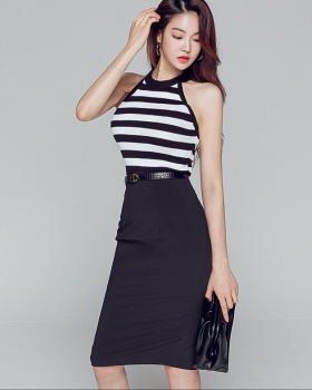 Pinched waist knitted tops slim skirt 2pcs set for women