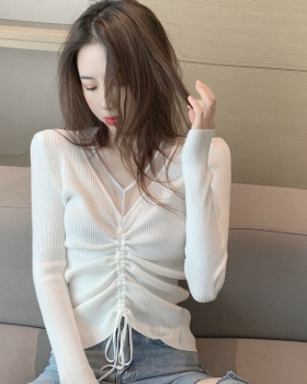 Slim thin pullover sweater gauze autumn tops for women
