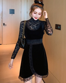 Lace velvet autumn and winter bottoming dress 2pcs set