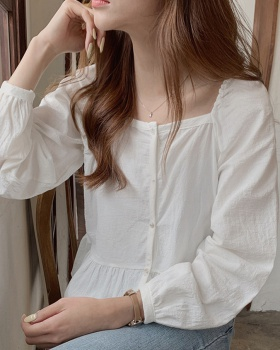 Long sleeve pure short Korean style autumn square collar shirt