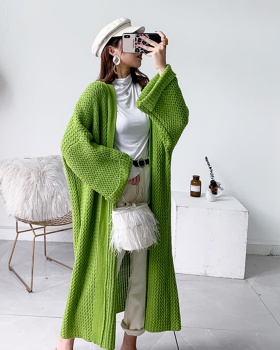 Knitted exceed knee sweater long loose cardigan for women