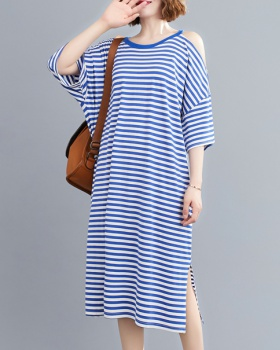Stripe long round neck T-shirt Western style loose dress