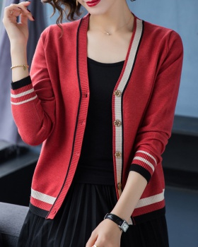 Autumn and winter V-neck tops long sleeve coat for women