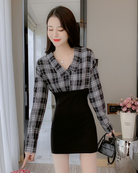 Sexy horizontal collar T-back France style plaid dress