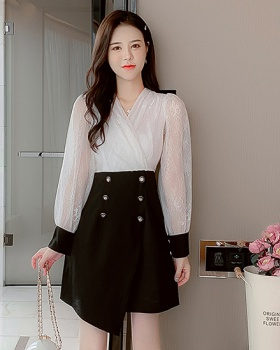 Pseudo-two lace long sleeve autumn gauze dress for women
