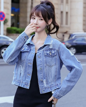 Denim long sleeve autumn slim holes jacket for women