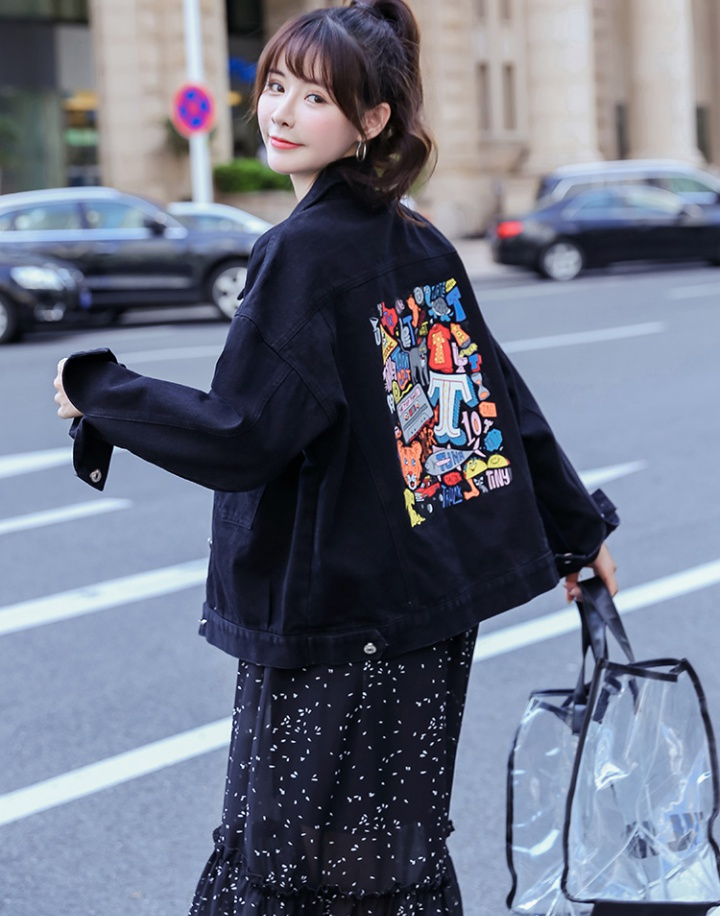 Back printing long sleeve black autumn denim jacket for women