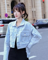 Denim long sleeve school uniforms autumn short coat for women