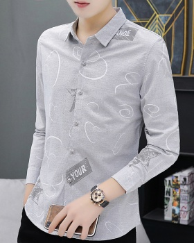 Casual long Korean style autumn and winter shirt for men