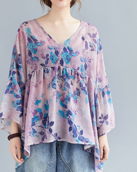 Large yard loose doll shirt autumn V-neck tops