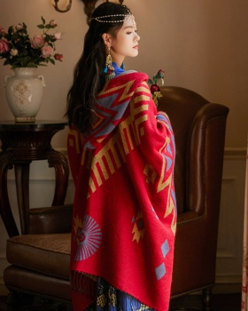 Thick hooded Bohemian style cloak national style travel shawl