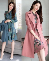 Ladies long dress fashion printing windbreaker 2pcs set