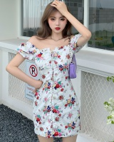 Refreshing floral pinched waist dress for women