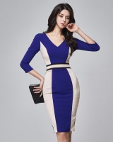 Autumn pinched waist sexy Korean style V-neck dress