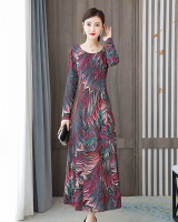 Slim pinched waist colors long autumn long sleeve dress