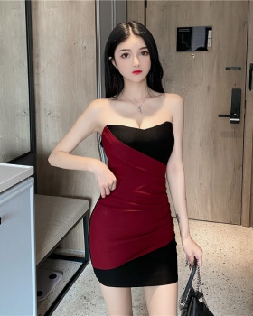 Package hip wrapped chest T-back strapless dress
