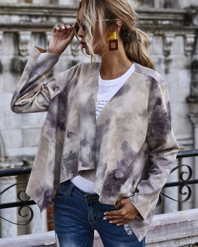 Printing thin long sleeve suede velvet jacket tops