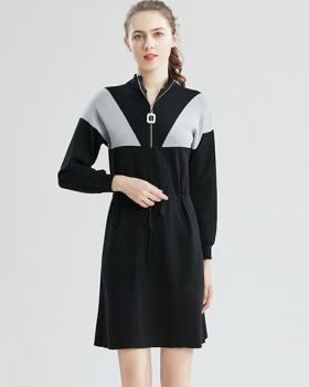 Pinched waist sweater sweater dress for women