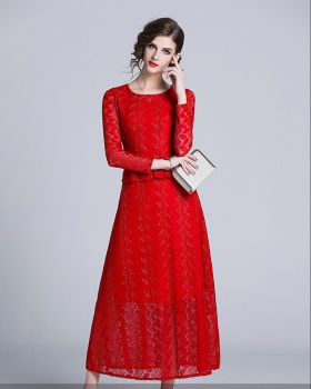 Temperament bottoming lace long sleeve dress for women