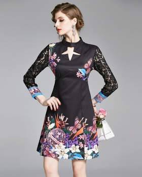 Printing pinched waist lace fashion dress for women