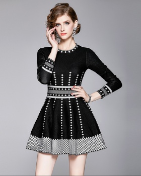 France style pinched waist retro dress for women