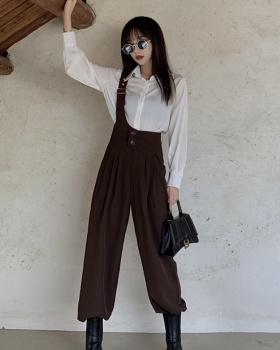 Autumn white pinched waist cardigan strap fashion work pants