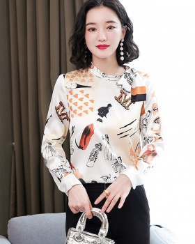 Printing thick silk long sleeve shirt bow autumn tops for women