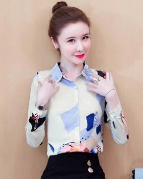 Long sleeve autumn tops printing retro shirt for women