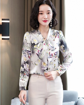 Printing frenum shirt bow tops for women