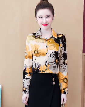Western style autumn small shirt long sleeve printing tops