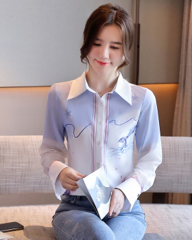 Dolphin loose sweet chiffon shirt lovely printing shirt for women