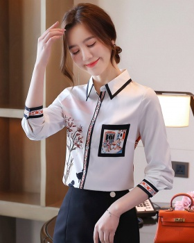 Slim loose France style printing shirt for women