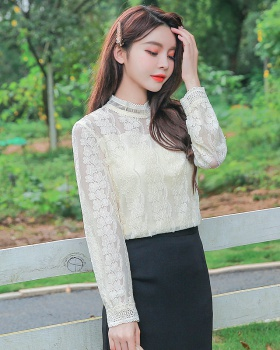 Western style lace tops cstand collar autumn small shirt