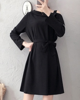 Strapless slim large yard autumn Western style fat dress