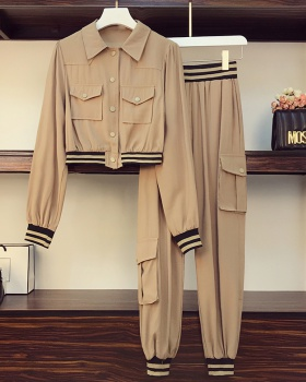 Casual Korean style splice lapel large yard shirts a set