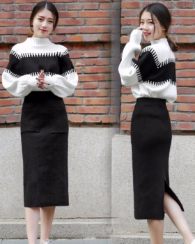 Knitted autumn and winter skirt fashion sweater 2pcs set