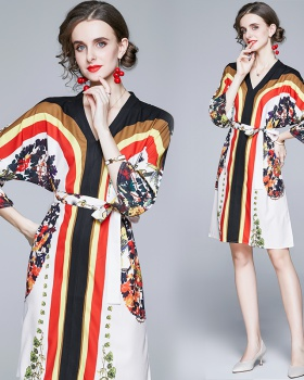 Stripe fashion pinched waist autumn printing flowers dress