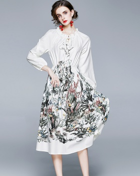 Autumn Chinese style ink printing wood ear dress for women