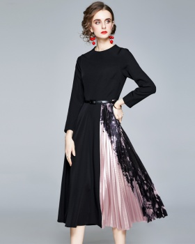 With belt printing pinched waist pleated long sleeve dress