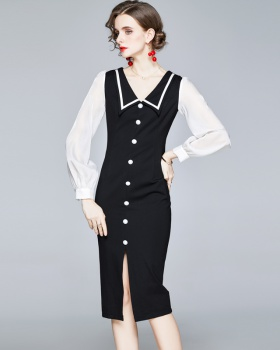 Long sleeve splice France style not fade no pilling dress