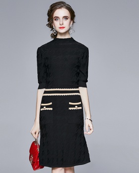 Long slim knitted autumn fashion and elegant dress