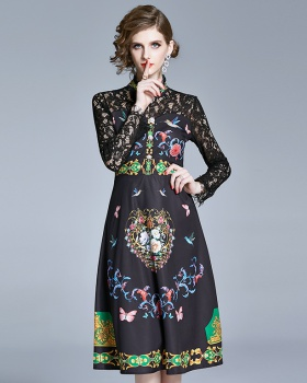 Temperament slim lace dress for women