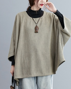 Loose large yard all-match tops autumn round neck bat shirts