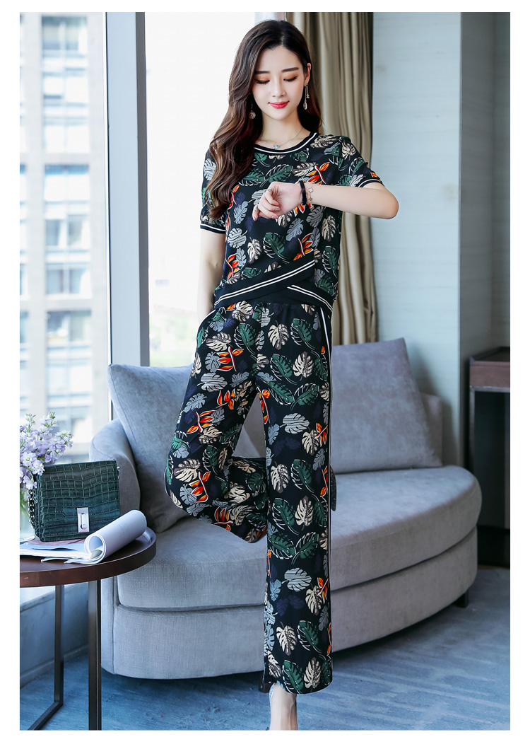 Casual Western style wide leg pants 2pcs set for women