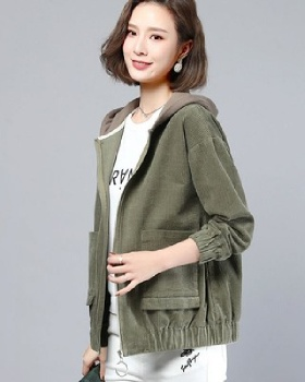 Fashion corduroy all-match loose jacket for women