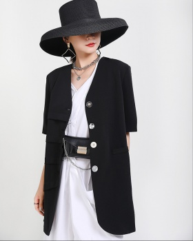 Irregular Korean style business suit short sleeve coat