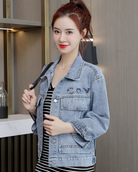 Fashion denim tops autumn and winter coat for women