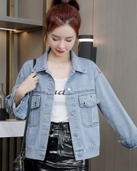 Autumn pocket denim tops hollow Casual jacket for women